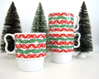 Vintage Christmas Mug Set Stacking Treat Cups Red Green Stripes Holly Zig Zag Festive Design Co-worker Gift Porcelain Japan
