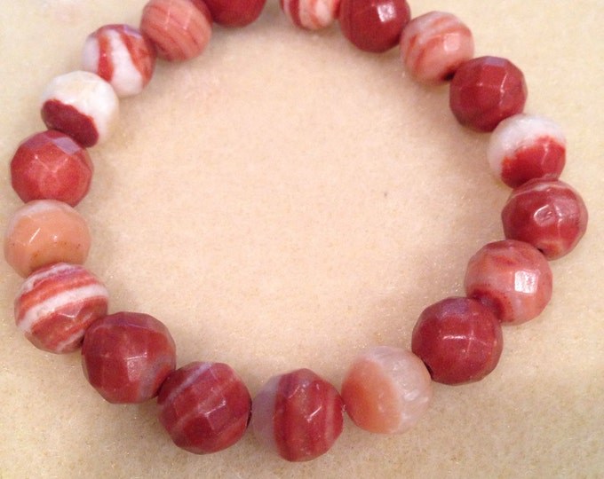 Canyon Agate 10mm Faceted Round Stretch Bead Bracelet with Sterling Silver Accent