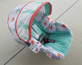 Arrows Car Sear cover in mint coral/gold /arrows/buck accents- Baby Seat Covers By Jill - always comes with free strap covers- made to order