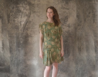 1920s Green Silk Dress size S