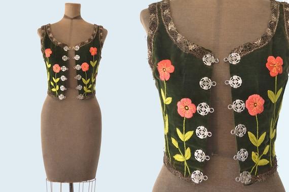 Antique Green Velvet Embroidered Dirndl Peasant Vest size XS