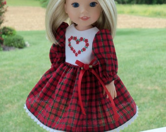 "Embroidered  Christmas  Dress for American Girl Doll 14"" Wellie Wishers"