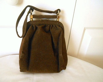 Vintage brown faux velvet 60's small evening handbag Purse
