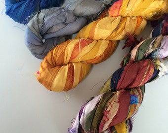 Sari silk ribbon, 4 x 10 yards, mixed yarn pack. Jewelry making sari ribbon, knitting ribbon, craft ribbon, recycled ribbon yarn. Ethical.