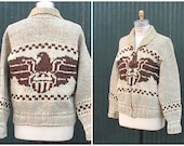 COZY UP Vintage 1970's  Cowichan   Sweater | Hand Made Eagle Design Bulky Knit Cardigan  | Mens Size Medium