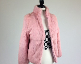 SALE // 90's Baby Pink Rabbit Fur Cropped Coat // XS - S