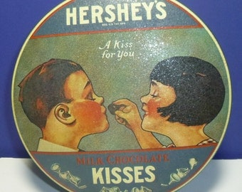 A Kiss for You Hershey's Milk Chocolate Kisses Vintage Tin, 1982 (empty)