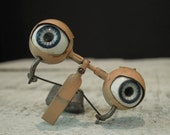 Vintage / Antique Glass Doll Eyes / Blue Doll Eyes / Weighted Eyes / Doll Supplies / Movable Eyes / Creepy Eyes / Up Cycle / Rocker Eyes