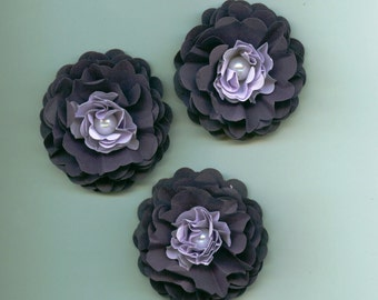 Purple and Light Purple Peony Paper Flowers with White Pearls