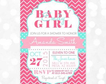 Girl Baby Shower Invitation - Baby Girl Pink Aqua Chevron Polka Dots It's A Girl DIY Printable Invite PDF (Item #79)