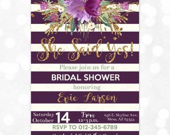 Purple Bridal Shower Invitation Watercolor Floral Bridal Shower Invite Wedding Shower Gold Glitter She Said Yes Printable Invite PDF (#39)