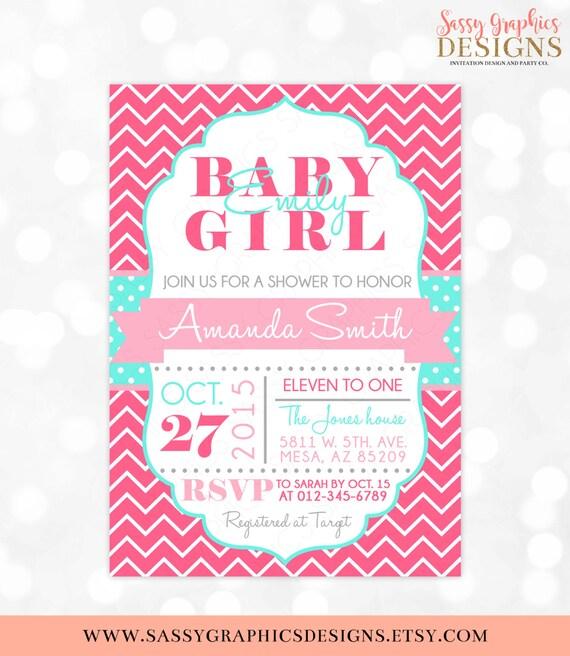 Girl baby shower invitation baby girl pink aqua chevron polka dots il570xn filmwisefo Choice Image