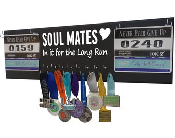 Running Medal Holder and Race Bib Hanger for couples, SOUL MATES design, running anniversary gift, Wedding registry