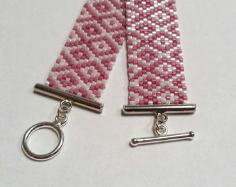 Raspberry and Pearl White Diamonds Peyote Bracelet - Ready to Ship