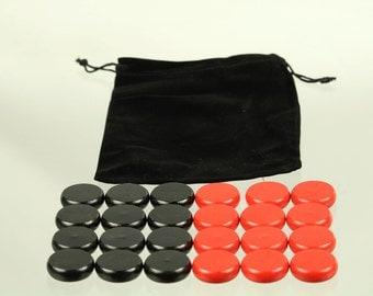 "Crokinole Pieces 1-1/4"" wooden biscuits, Red/Black, Paul Szewc"