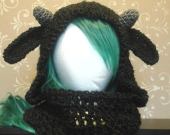 Black Sheep Ear Handmade Crochet Adult Hat Hood Scarf Scoodie Cowl Infinity Scarf Cozy Ready to Ship
