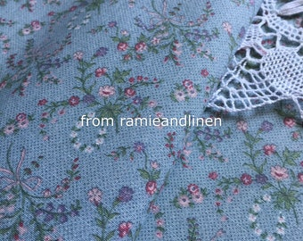 "cotton fabric, vintage rose bouquet on grey blue, one yard by 44"" wide"