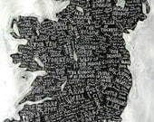 Map of Ireland No.3, hand drawn 40cm x 50cm