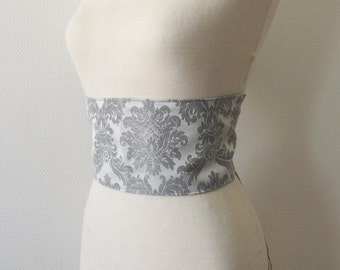 Silver on white damask obi belt, reversible