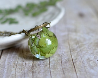Fern necklace maidenhair fern resin jewelry pressed leaf nature necklace statement necklace nature inspired, gift under 50