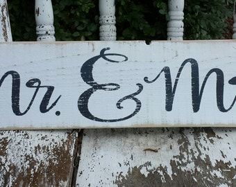 Mr. & Mrs. Wedding Sign Shabby Chic  wood sign distressed/wedding gift/ His/ Hers/ wood signs