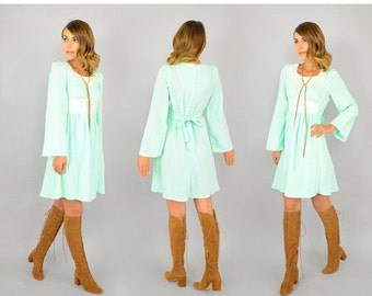 WINTER SALE 70's Seafoam Babydoll Dress
