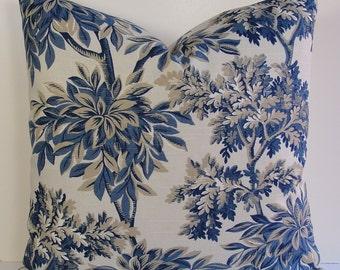 Robert Allen indigo toile Decorative pillow-Designer throw pillow-Chinoiserie-botanical-trees-floral-asian toile-tan-navy-natural-euro sham