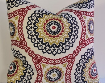 Decorative Suzani pillow cover-designer throw pillow-BOTH SIDES-navy-brick red-khaki-off white-geometric-circles-mod-accent pillow