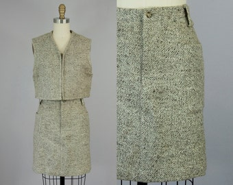 "1990s Vintage Brown and Tan Textured Wool High Waist Mini Skirt (M; 29"" Waist)"