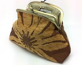 Gold Flower Kiss Lock Coin Purse Wallet Clutch Gift for Women Velvet Silk Double Metal Frame