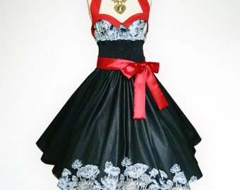 Bunny Black Vintage Flower 50s Pin up Rockabilly Swing Dress Full Swing Skirt