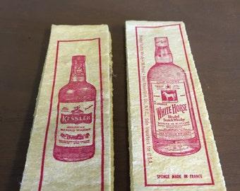 Vintage Unused Whiskey Advertising Bar Sponges