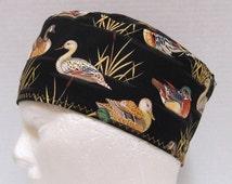 Mens Scrub Hat, Scrub Cap with Ducks on Black