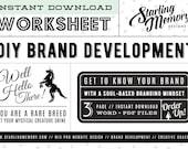 DIY BRAND DEVELOPMENT Worksheet - Soul Based Branding - Creative Coaching - Business Marketing - Brand Development - Business Worksheet