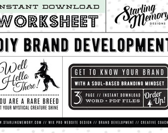 DIY BRAND DEVELOPMENT Worksheet - Soul Based Branding - Creative Coaching - Business Marketing - Brand Development - Business Worksheet