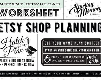 ETSY SHOP PLANNING Worksheet - Business Planning Worksheet - Etsy Shop Marketing - Business Branding - Business Marketing Worksheet