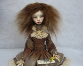 Rinell Art doll OOAK doll Hand made doll Air dry clay doll Art clay doll Collecting doll Human figure doll