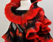 Nuno felted shawl / wrap / merino wool / mulberry silk / hand felted / red / wearable art
