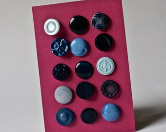 Vintage Shank Buttons in Shades of Blue for Sewing and Crafting