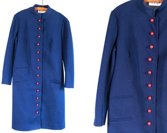 Vintage VTG VG 1970's 70's 1960's 60's London Calling Mod Retro Navy Blue and Red Button Up Polyester Dress Hipster Women's by Butte Knit