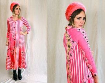 Vintage VTG VG 1970's 70's 1960's 60's Neon Pink Striped Floral Maxi Dress Long Sleeved Pajamas Nightgown Formal Hipster Mod Retro Women's