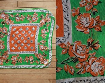 Vintage Vtg Vg 1930's 30's 1940's 40's 100 Percent Pure Silk Scarf in Green and Orange and Black Roses Rose Hips Flowers Retro High Fashion