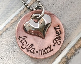 Personalized Mommy Necklace -- Hand Stamped Copper Name Charm Necklace