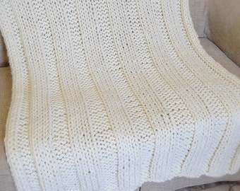 Chunky Knit Wool Blanket, Handknit Throw Blanket, Off White Blanket, Knitted Throw Blanket, Housewarming Gift,  Ribbed Knit Blanket