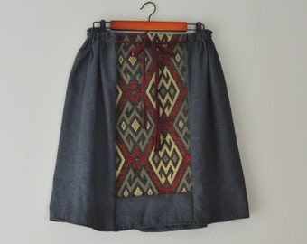 Gunmetal Grey Sack Skirt/Upcycled Vintage Wool Drawstring Skirt/Womens Wool Gray Skirt With Tapestry/Handsewn