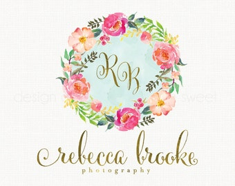 flower wreath logo watercolor logo photography logo gold intials logo watercolour logo floral logo design event planner logo premade logo