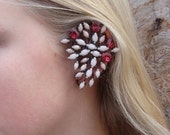 Unique Vintage Rhinestone Ear Wrap, Over Ear, White Fushia, Jappaned Metal, Rhinestone Earrings, Ear Cuff, Vintage Jewelry