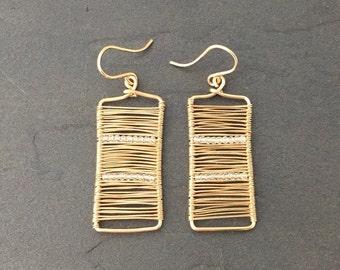 14k gold Wire Wrapped Rectangle Earrings with White Topaz beads; Minimalist Earrings Modern Earrings Dainty Jewerly