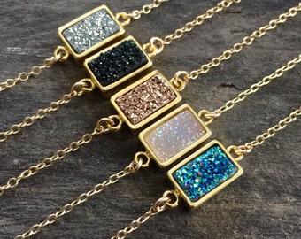 Druzy Bracelet, Gold Bracelet, Gemstone Bracelet, Delicate Bracelet, Druzy Quartz Jewelry, Drusy Bracelet