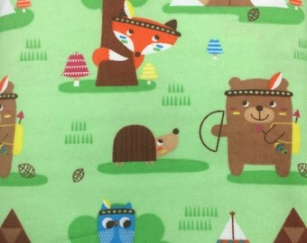 Foxes and Teepees - FLANNEL - BTY